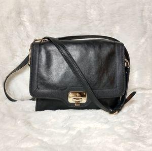 Cole Haan Black Leather Flap Crossbody Bag